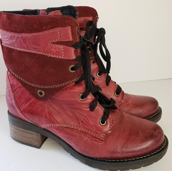ae57e28eba80e8 Dromedaris Shoes - Dromedaris Leather Lace-Up Ankle Boots - Kara